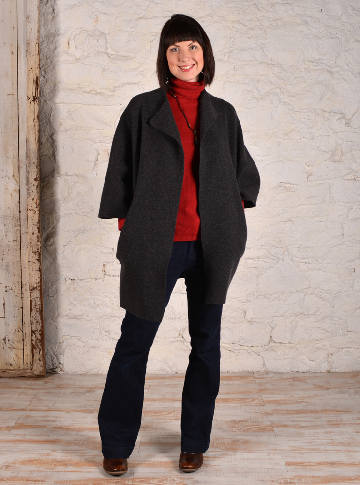 Chateau coat made in charcoal grey boucle fabric