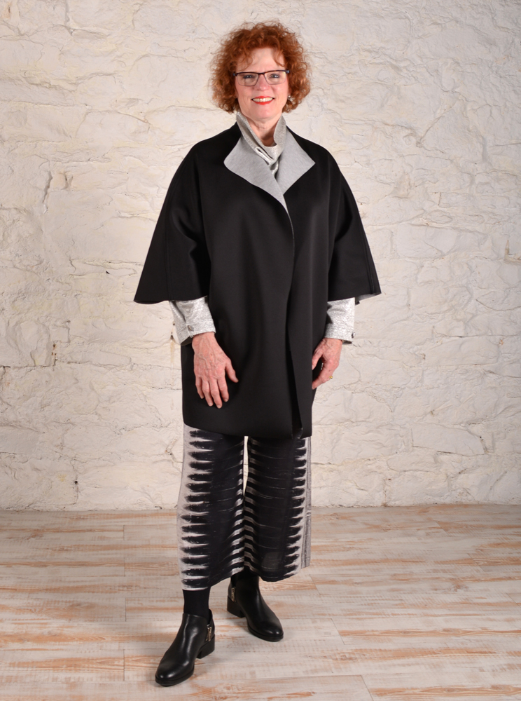 Chateau coat made with double-sided scuba knit fabric