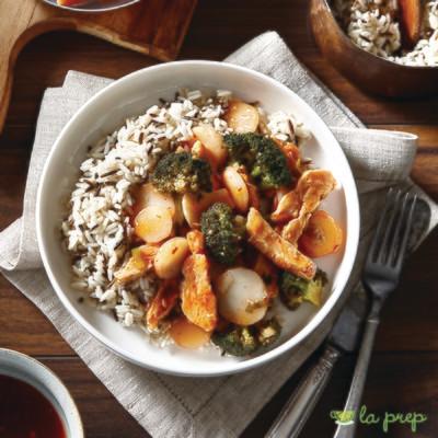Poulet ou boeuf à la sauce aux piments chili doux