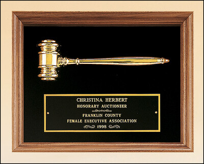 American Walnut Framed Plaque with Gold Plated Gavel