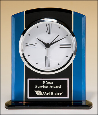 Black and Blue Glass Clock, Silver Bezel