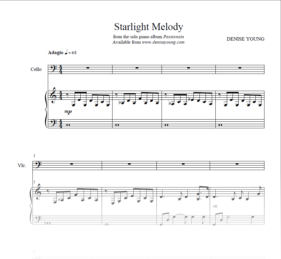 """""""Starlight Melody"""" Sheet Music for Piano and Cello"""