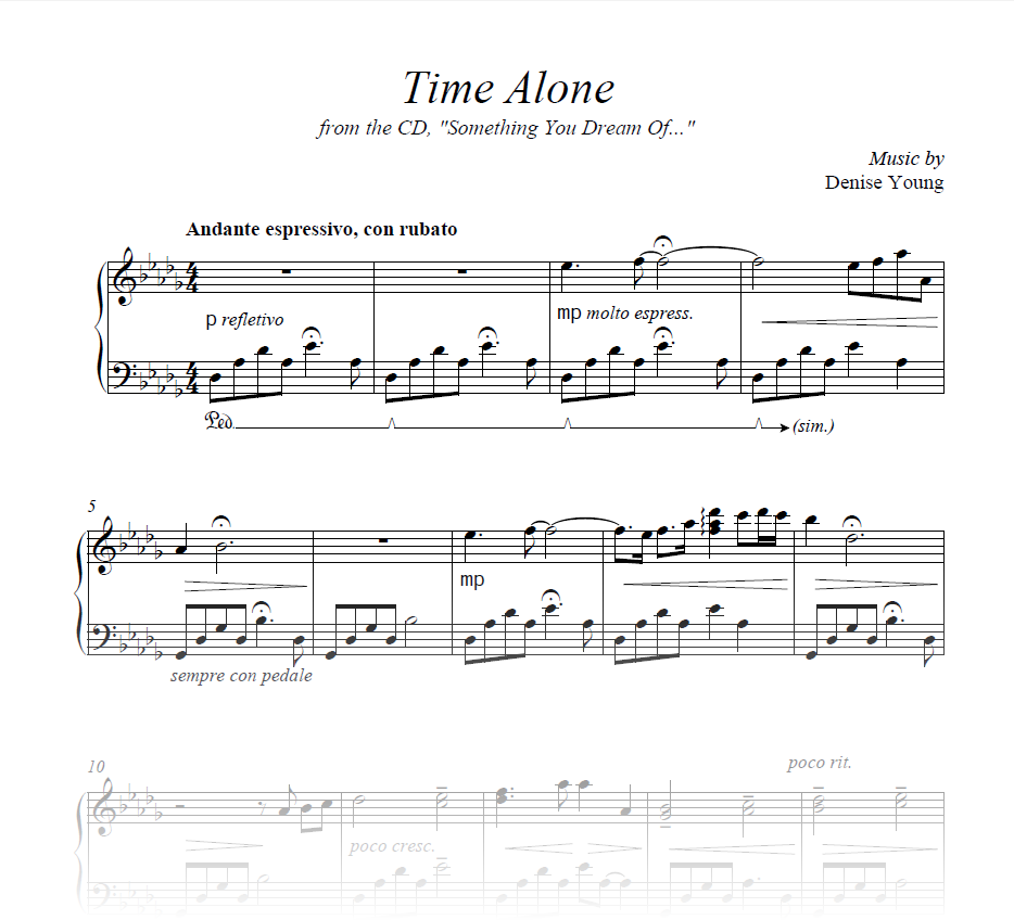 """""""Time Alone"""" Sheet Music for Piano"""