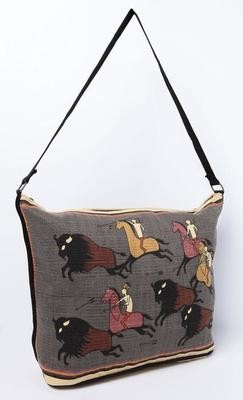 Cotton Stencil Purse - Buffalo Hunt