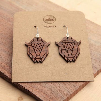 Wood Bison Earrings by Moku