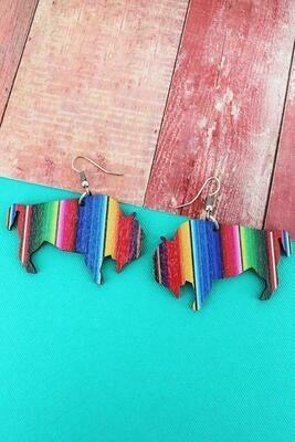Serape Buffalo Wooden Earrings