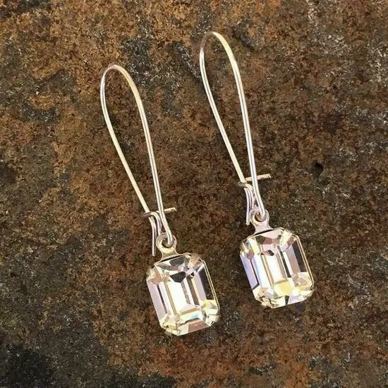 Simple Solitaire Silver Earrings