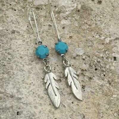 Silver Turquoise Feather Earrings