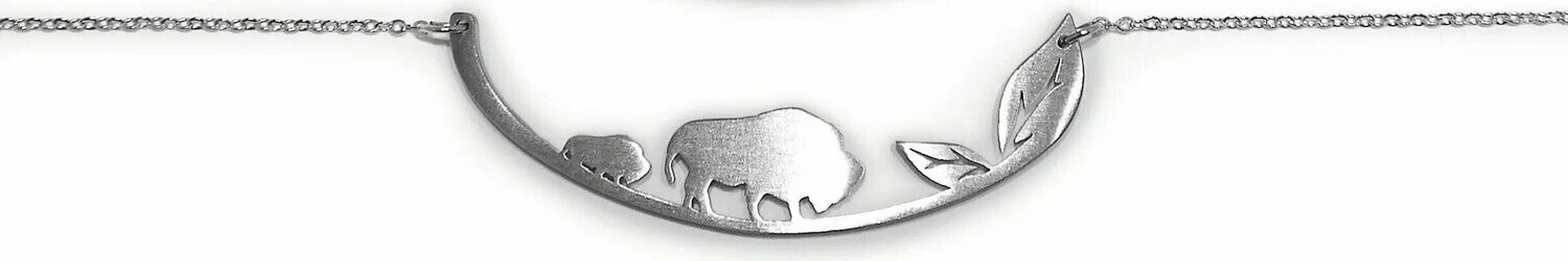 In the Woods Stainless Steel Bison Necklace