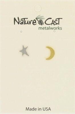 2 Tone Hammered Moon/Star Post Earrings