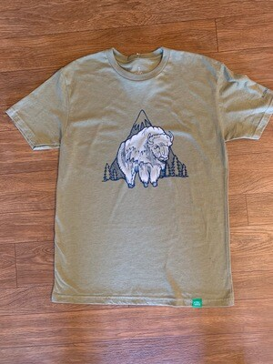 Wild Tribute Olive Green Bison T-Shirt