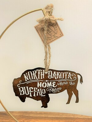 Metal North Dakota Buffalo Ornament