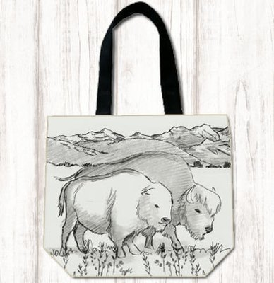 Black & White Bison Tote