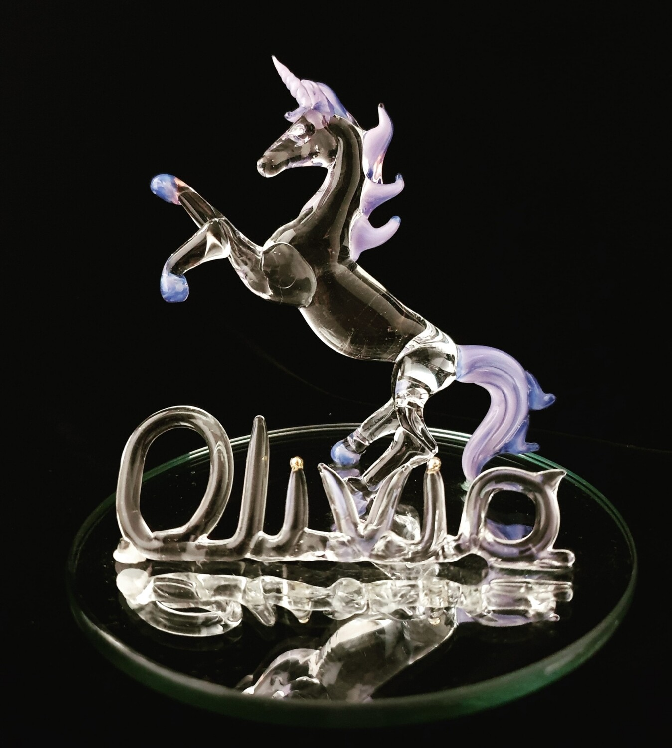 Small Rearing Unicorn with Name on Mirror