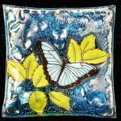 Light Blue Butterfly Slump Plate*