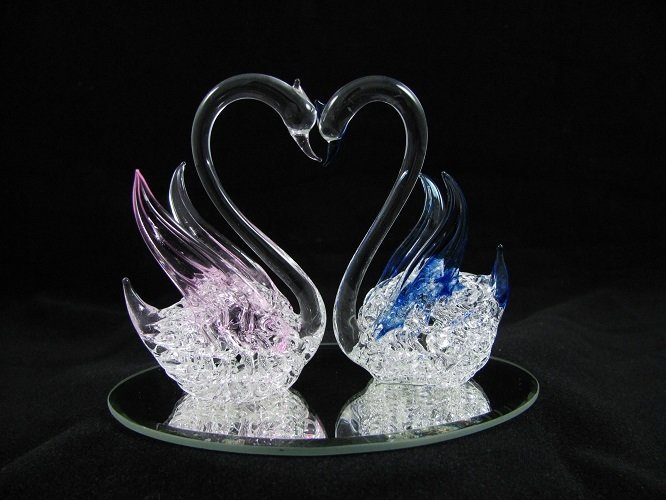Swan Pair on Mirror Base