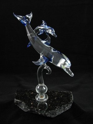 Dolphin and Baby on Granite Base