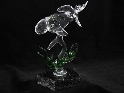Dugong and Baby with Seagrass on Granite Base