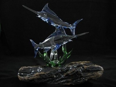 Double Marlin with Coral on Granite Base or Driftwood Base