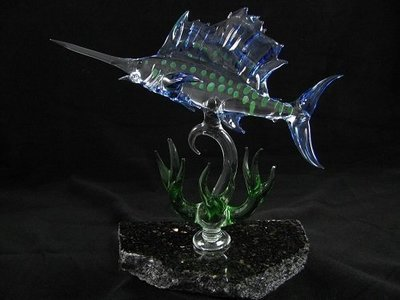Horizontal Sailfish with Coral on Granite Base