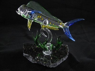 Mahi Mahi with Coral on Granite Base