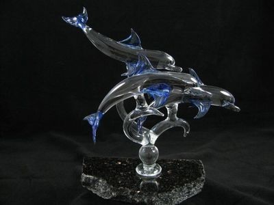 Triple Dolphins on Granite Base