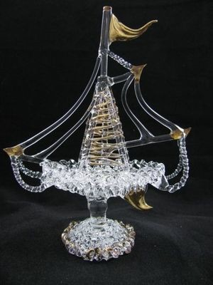 Lace Ship with 24crt Gold Highlights
