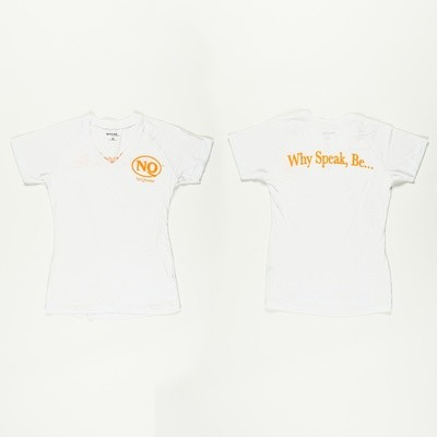 NQ Ladies Orange on White V-Neck Competitor T (Now Available)