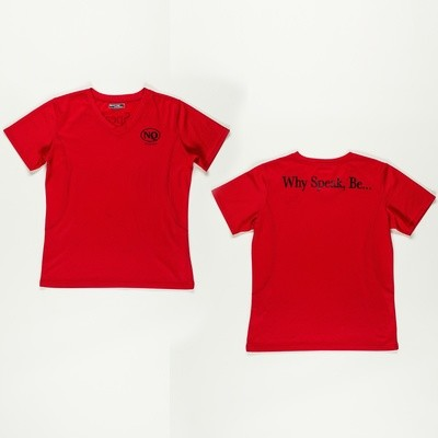 No Quotes Black on Red Female V-Neck (Now Available)