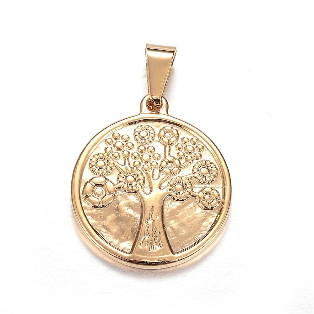 316 Stainless Steel Pendant Tree of Life Golden 25mm