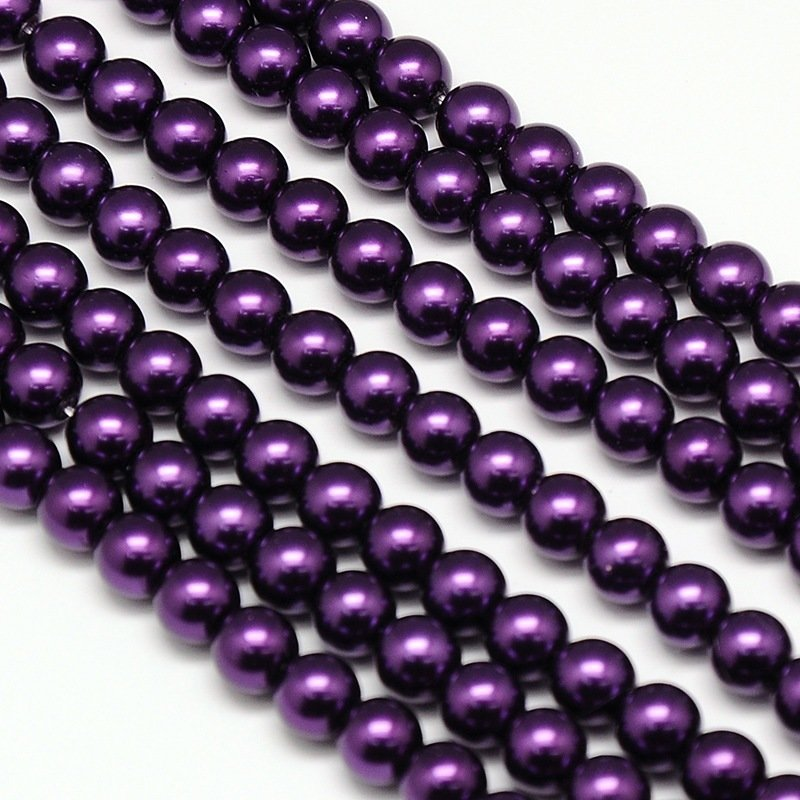4mm Glass Pearls x100 Deep Purple