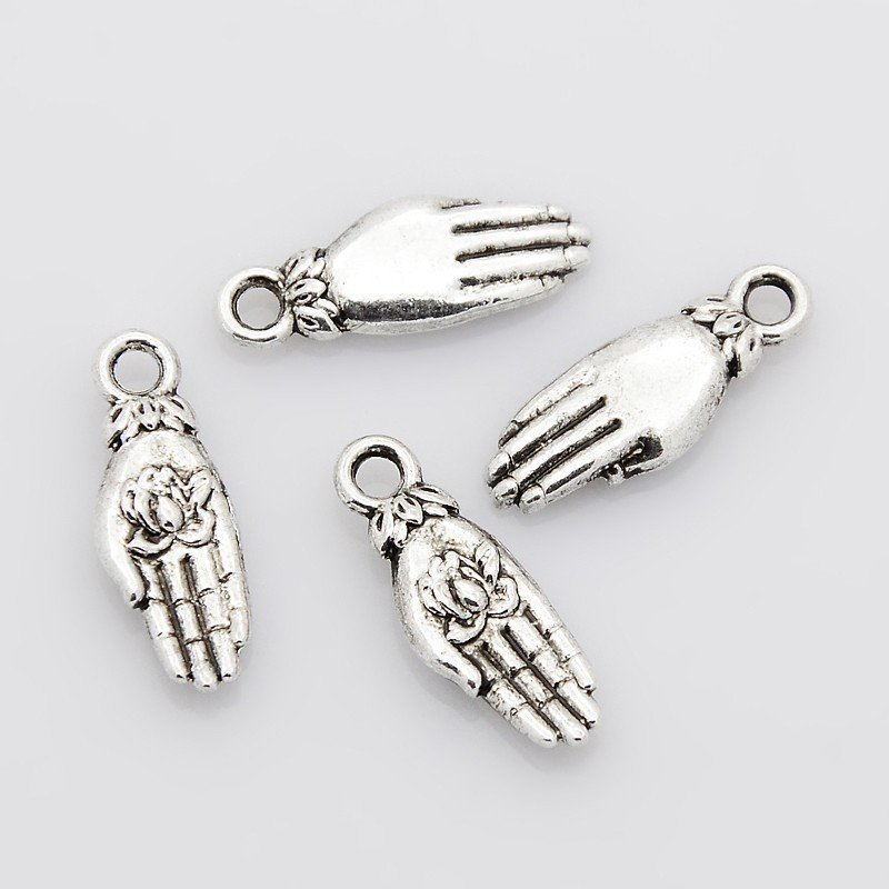 Hand with Lotus in Palm Antique Silver 18x7x3mm
