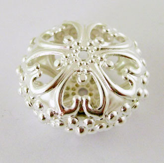 Rondelle Spacer Filigree Silver 23mm x12.5mm