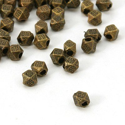 Square 4mm Bead  Antique Brass 4mm
