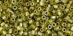 11/0 Hex Toho Peridot Gold Colour-Lined 991