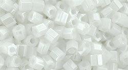 11/0 Hex Toho Opaque White Lustre 121