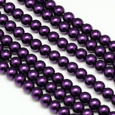 6mm Glass Pearls x70 Deep Purple