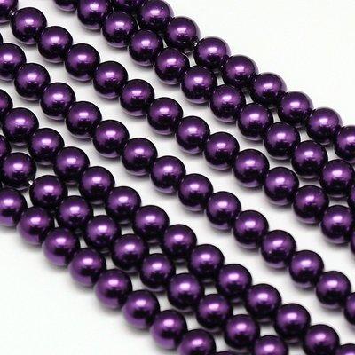 8mm Glass Pearls x50 Deep Purple