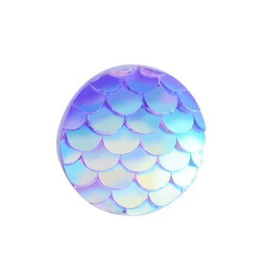 Fish Scale Resin Cabochon Lilac Purple 12x3mm