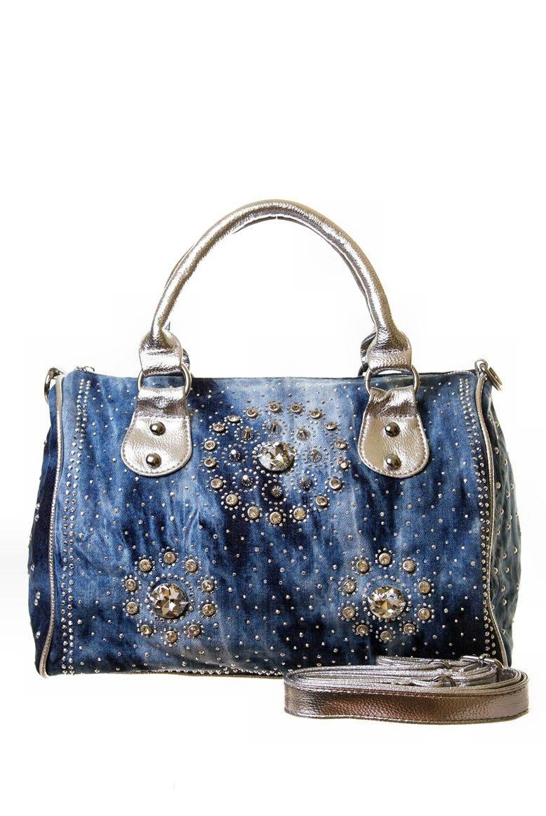 Rhinestone Studded Denim Handbag