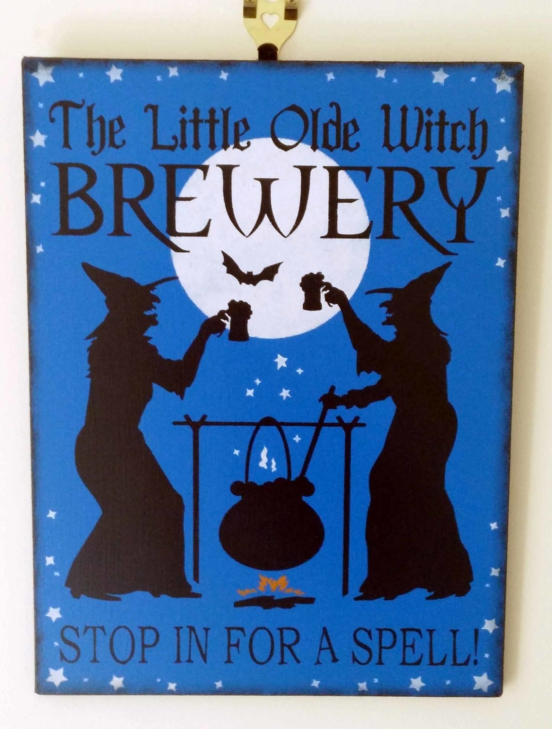 The Little Olde Witch Brewery Wooden Sign - Blue