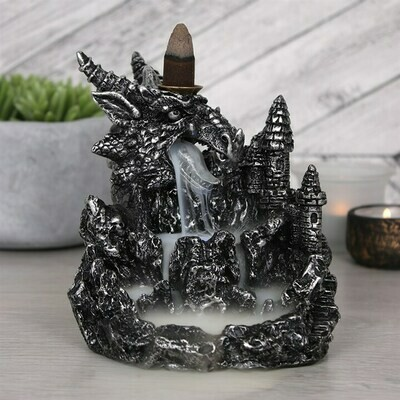 Silver Dragon Backflow Incense Burner with Light