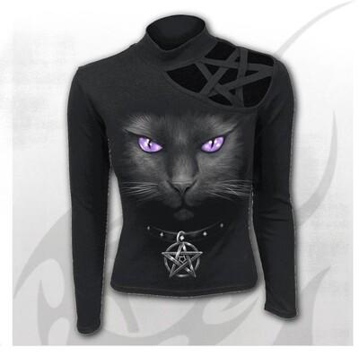 BLACK CAT - Pentagram Shoulder Longsleeve Top