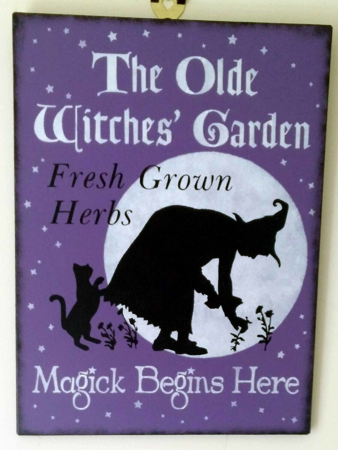 The Olde Witches Garden Wooden Sign - Purple