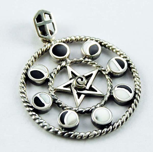 Pendant Silver Moon And Pentagram