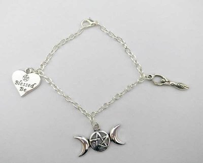 Triple Moon Chain Charm Bracelet
