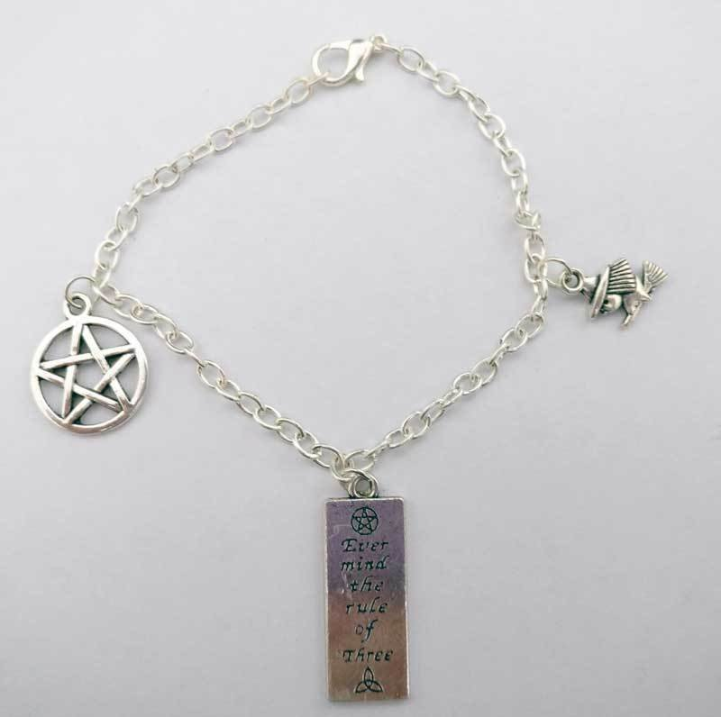Rule of Three with Pentacle Chain Charm Bracelet
