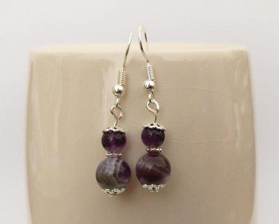 Amethyst Round Beads Dangle Earrings