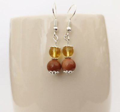 Goldstone and citrine Round Beads Dangle Earrings