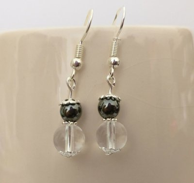 Hematite and Clear Quartz Round Beads Dangle Earrings